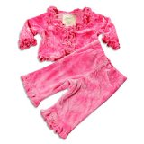 Psketti - Infant Girls Long Sleeve Tie Dyed Crushed Velour Pant Set - Pink
